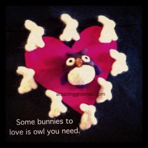 Handmade felted owl and bunnies.