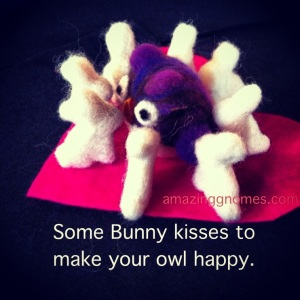 Handmade wool felted owl & bunnies giving kisses.