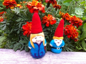 Little Gnome, and Girl Gnome out in the garden.