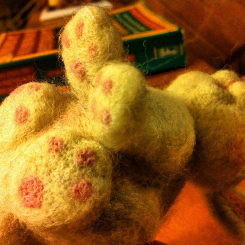 felted bunny feet