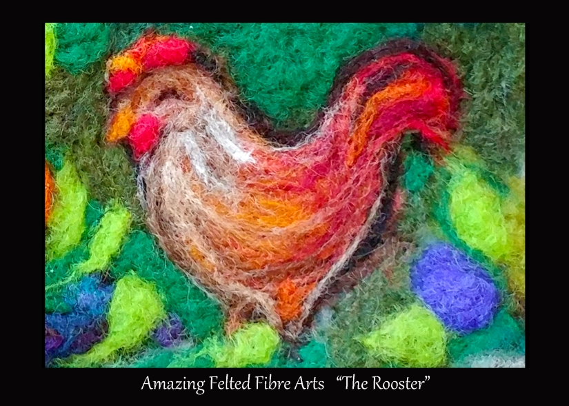 Rooster Fibre Painting 5x7